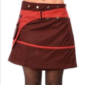 Jayli O Snap Corduroy Belted Mini Skirt with pouch